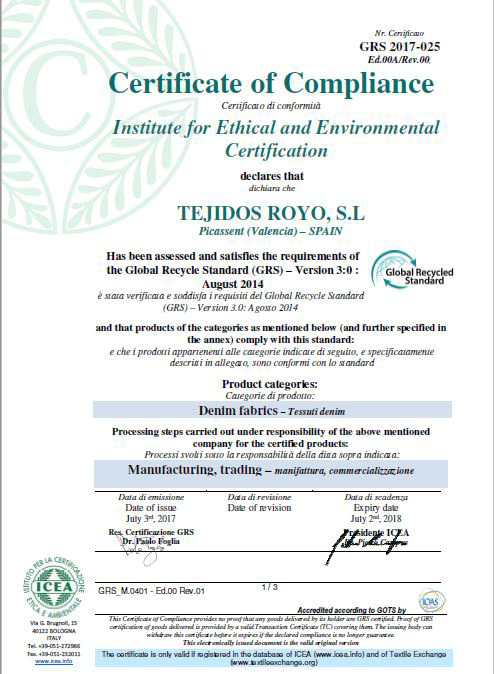 TEJIDOS ROYO ACQUIRES THE CERTIFICATION GRS 2017